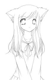 Cat Anime Girl Coloring Pages To Print Cartoon Coloring Pages Of