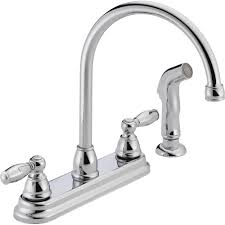rless apex 2 handle standard kitchen faucet with side sprayer in chrome