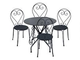 Table + 4 chaises jardin fer forgé GUERMANTES - 2 coloris
