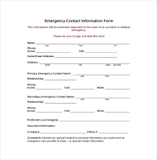 Emergency Contact Template Emergency Contact Forms Templates