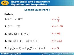 holt mcdougal algebra 2 7 5 exponential and logarithmic equations and inequalities lesson quiz