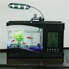 Captivating 2018 Mini USB Aquarium With LCD Display Desktop Fish Tank LED Clock Table  Lamp Fish Tank Aquarium LED Clock White Black From Autoledlight, $47.74 |  DHgate.