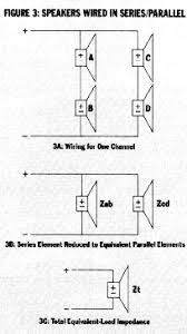 how to car stereo series vs parallel wiring is created by running a single wire from the negative terminal of the amp channel and splitting it between the negative terminals of speakers b and d