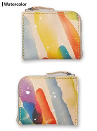 The Meal Genuine Leather Which Is L Fastener Half Wallet Art Easy Wallet Saddle Leather Natural Print Colorful Rainbow Picture In Watercolors Tattoo