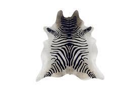 black zebra pattern cowhide rug