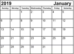 Fillable Calendar January 2019 Printable 2018 Calendars Templates