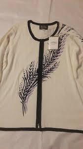 Nwot Blue W Gray Print Bob Mackie Wearable Art 3 5 Sleeve