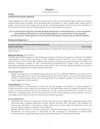 Sample Resume Construction Project Manager