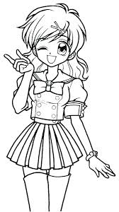 Anime Coloring Pages Easy Girls Girl Page To Print Colo Qnrfsubmission