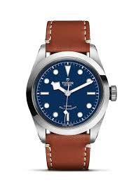 blue dial brown leather strap