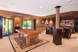 basement interior design. Traditional Furnished Basement Interior Design