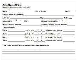 Quote Form Sample Quote Sheet 100 Examples Format For Auto Insurance Quote 48