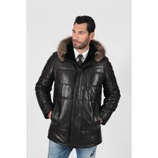 men s black padded and quilted fox fur hood and collar real leather coat