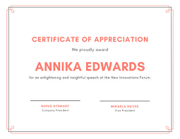 Cream With Blue Dots Pattern Appreciation Certificate