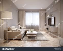 Modern Light Gray Living Room Modern Beige Gray Living Room Interior Stock Illustration