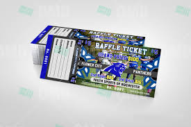 sports invites youth football raffle ticket flower city panthers raffle ticket design product 1