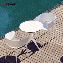 amywell high density waterproof durable phenolic hpl outdoor round garden table