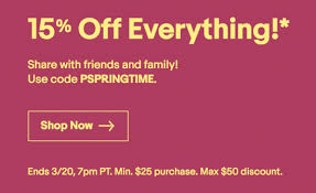 today only at ebay 15 off with pspringtime 25 min spend 50 max valid tuesday march 20th from 9 am to 7 pm pst
