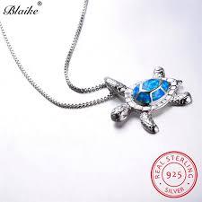 2019 blaike cute ocean blue fire opal turtle pendant necklaces for women 925 sterling silver teardrop birthstone tortoise necklace from bojiban