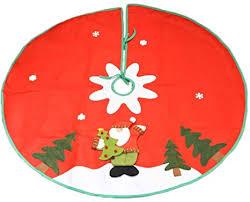 <b>Christmas</b> Tree Skirt <b>Cartoon Santa</b> Claus Snowman <b>Elk</b> Fabric ...