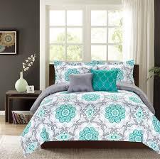 crest home sunrise king comforter 5 pc bedding set teal and grey medallion