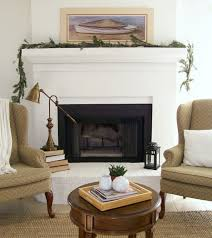 fresh brick fireplace with white mantle