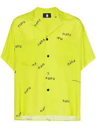 Yellow Designer Shirt Mens Duo Printed Short Sleeve Shirt Yellow Hip Hop Outfit In