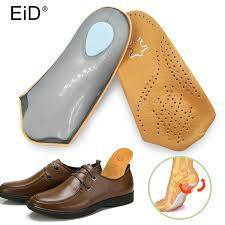 eid 3 4 length leather insole flat foot orthotic insoles arch support 2 5cm half shoe pad orthopedic insoles foot care shoe size 35 to 36