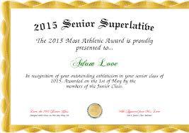 Superlative Certificate 2015 Senior Superlative Certificate Created With Certificatefun Com