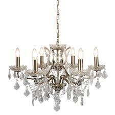 searchlight 8736 6ab paris 6 light chandelier clear crystal drops antique brass