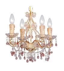 crystorama paris flea market 4 light mini chandelier in champagne 4504 cm