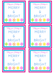 merry bright printable gift tag merry bright printable holiday gift card pink and blue