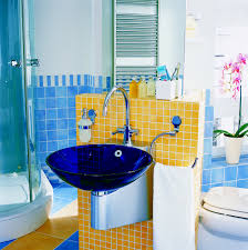 Kids Bathroom Tile Marvelous Kids Bathroom Design With Cool Blue Washbasin And Cool