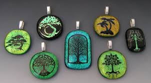 custom made laser etched tree designs dichroic fused glass pendants