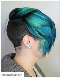 Turquoise Teal Green Dyed Hair With Shaved Sides And Back Hair