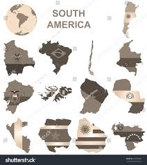 Sepia Flags South America Collection Overlaid Stock Illustration