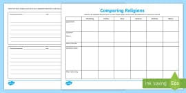 World Religions Chart Worksheet Answers Ks2 World Religion Day 15th Jan Compare Religions
