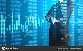 Hand Reflection Chart Investment Concept Hand Stock Financial Chart Symbols Coming