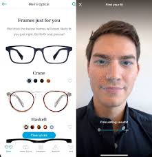 the glasses app uses the smartphone s front facing truedepth to map the user s face and create an ideal fit for a new set of frames