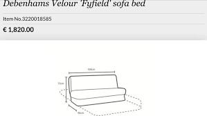 almost new debenhams fyfield sofa bed