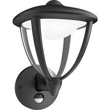 philips led robin outdoor pir wall lantern ip44 4 5w black 430lm