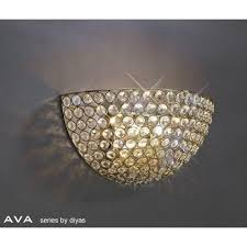 il30758 ava 2 light french gold crystal wall light