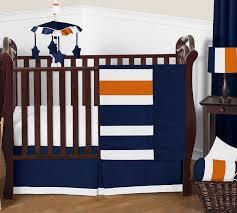 stripe navy blue and orange 11 piece perless crib bedding collection enlarge