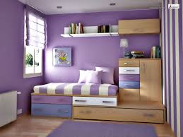 Small Bedroom Colors And Designs With Cute Purple Wall Painting And