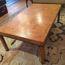 mid century modern parsons style burl olive wood coffee table for
