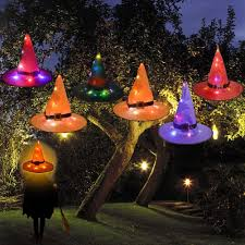 Outdoor Halloween Lights 7mohugme Halloween Decorations Witch Hat Outdoor 6pcs Hanging Lighted Glowing Witch Hat Decorations Halloween Lights String Battery Operated Halloween