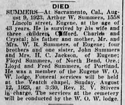 Death Notice for Arthur W. Summers. - Newspapers.com