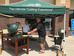 grilling outside the showrooms with big green egg