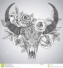 декоративный индийский череп быка в стиле татуировки племенном с