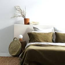 olive green duvet cover king ac flax linen in bedroom
